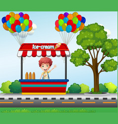 Boy selling icecream in park vector