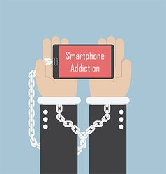 Businessman hands with smartphone and shackle Sma vector image
