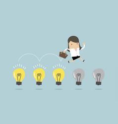 businesswoman jumps on light bulbs vector image