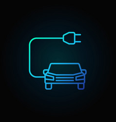car with plug blue icon in thin line style vector image