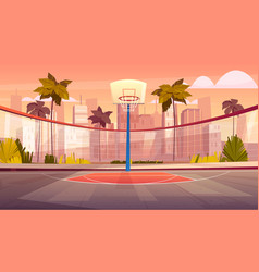 cartoon background street basketball vector image