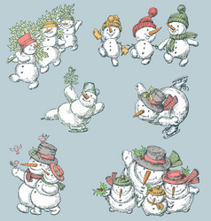 Cheerful snowmen vector