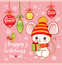 christmas card with a cute little mouse that holds vector image