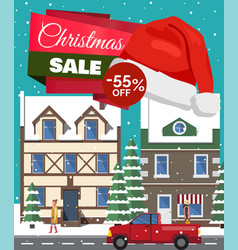 Christmas sale -55 off poster vector