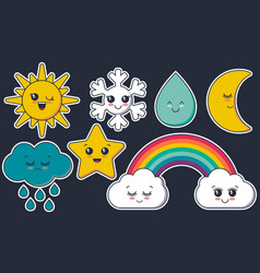 collection of weather characters cute vector image