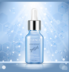 Cosmetic ads template essence bottle with blue vector