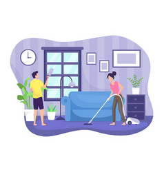 couple cleaning house vector image