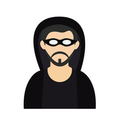 Criminal wearing hoodie and mask icon image vector