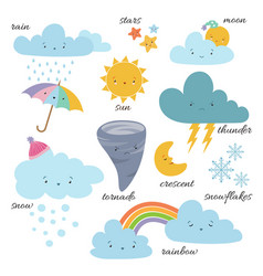 cute cartoon weather icons forecast meteorology vector image