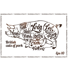 cuts of pork pig scheme on poster for butchery vector image