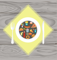 et of junk food vector image