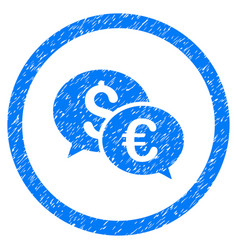 Euro and dollar transactions rounded icon rubber vector