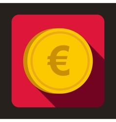 Euro coin icon flat style vector image