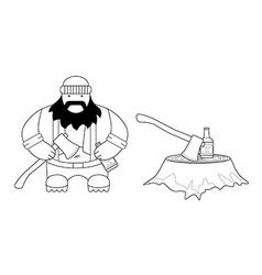 Fat lumberjack Line-art vector