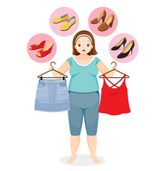Fat woman decide selecting shoes for clothing vector