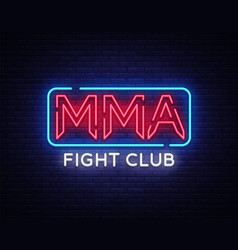 Fight club neon sign mma neon symbol logo vector