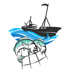 Fishing vessel and fish in networks vector