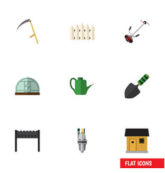 Flat icon dacha set of cutter grass-cutter vector