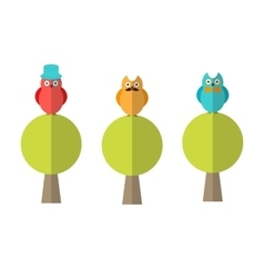 Flat of three owls sitting on trees vector