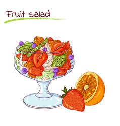Fresh fruit salad vector