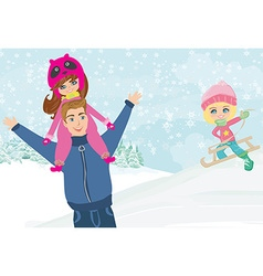 fun with dad in the snow vector image