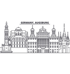 Germany augsburg line skyline vector