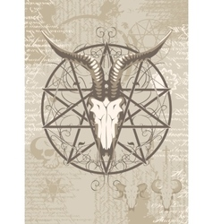 Goat skull on the background with occult symbols vector