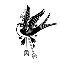 Graphic swallow pierced two arrows vector