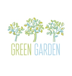 Green tree design element in hand drawn relaxed vector image