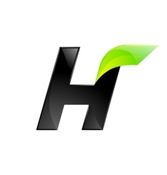 H letter black and green logo design Fast speed vector image