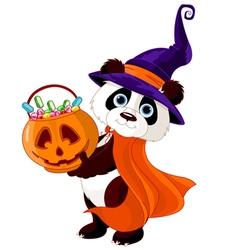 Halloween panda vector image