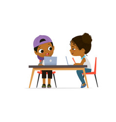 Happy african american children sitting at laptops vector