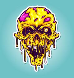 Head yellow zombie horror vector