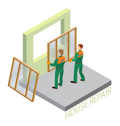 home repair isometric template repairers hold vector image