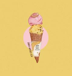 Ice-cream cone hand draw watercolor vector
