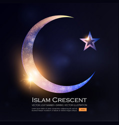 Islamic crescent moon muslim religious sign with vector
