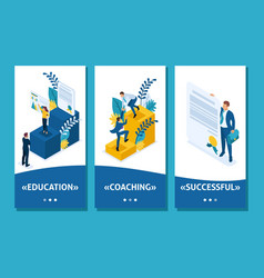 Isometric education is the key to success vector