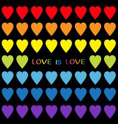 love is love rainbow heart set seamless pattern vector image