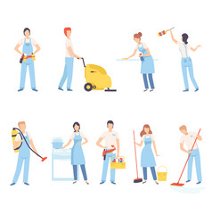 Male and female professional cleaners with vector