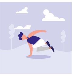 Man dancing break dance in landscape avatar vector