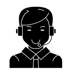 Man with headset icon black vector