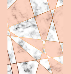 marble texture design with golden geometric lines vector image