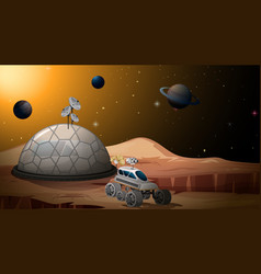 mars camp background scene vector image