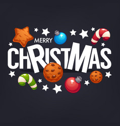 merry christmas lettering greeting composition on vector image