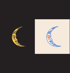Mystical moon astronomy alchemy and astrology vector