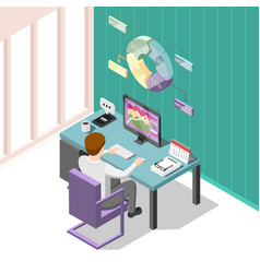 Online trading isometric background vector