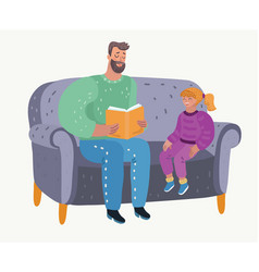 parent reading book to his girl childs education vector image
