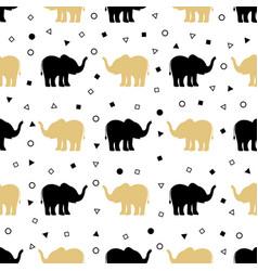 pattern golden and black elephants vector image