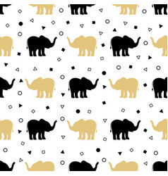 pattern of golden and black elephants vector image