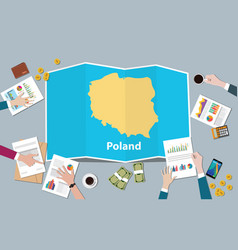 poland economy country growth nation team discuss vector image